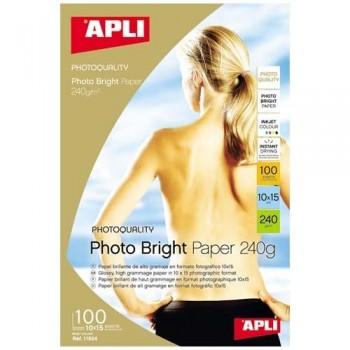 PAPEL FOTO 10X15 240 GR. 100 HOJAS BRILLANTE PRO PARA INKJET PHOTO BRIGHT APLI