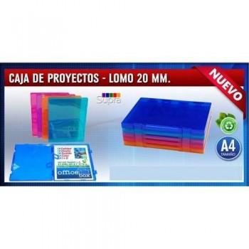 CARPETA PROYECTO A4 RÍGIDA 230X305MM LOMO 20MM. PP COLORES SURTIDOS TRANSPARENTES. OFFICE BOX