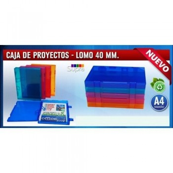 CARPETA PROYECTO A4 RÍGIDA 230X305MM LOMO 40MM. PP COLORES SURTIDOS TRANSPARENTES. OFFICE BOX