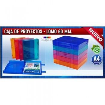 CARPETA PROYECTO A4 RÍGIDA 230X305MM LOMO 60MM. PP COLORES SURTIDOS TRANSPARENTES. OFFICE BOX