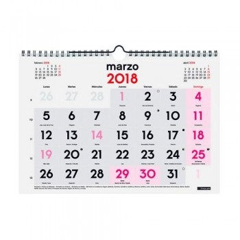 CALENDARIO PARED NÚMEROS GRANDES 300X210MM. M DOBLE ESPIRAL CASTELLANO FINOCAM
