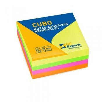NOTAS ADHESIVAS CUBO 75X75 MM. 320 HOJAS COLORES BRILLANTES OFIEXPERTS