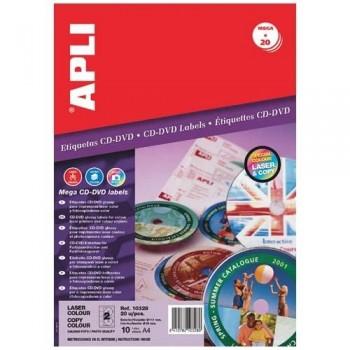 ETIQUETA CD-DVD 117/18 MM. GLOSSY 10 HOJAS A4 20 UNIDADES ADHESIVO PERMANENTE APLI PARA LASER