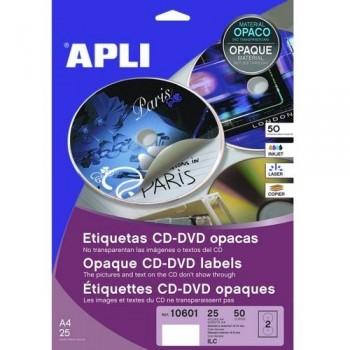 ETIQUETA CD-DVD 117/18 MM. DORSO OPACO 25 HOJAS A4 50 UNIDADES ADHESIVO PERMANENTE APLI