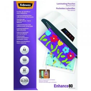 FUNDA PLASTIFICAR AUTOADHESIVA A4 80 MICRAS 100 UNI FELLOWES