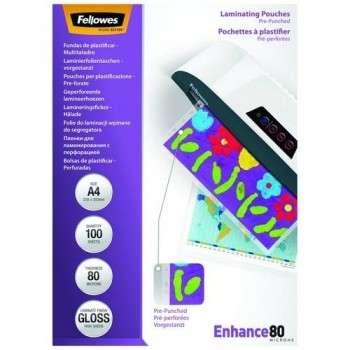 FUNDA PLASTIFICAR TALADRADA 228X303MM 80 MICRAS 100 UNI FELLOWES