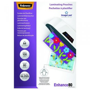 FUNDA PLASTIFICAR A4 80 MICRAS BRILLO 100 UNID. FELLOWES