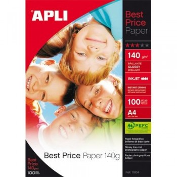 PAPEL FOTO A4 140 GR. 100 HOJAS BRILLANTE BEST PRICE APLI