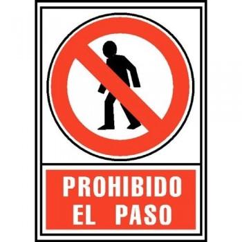 SEÑAL PVC NORMALIZADA PROHIBIDO EL PASO 210X297 ROJO ARCHIVO 2000