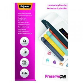 FUNDA PLASTIFICAR A4 250 MICRAS BRILLO 100 FELLOWES