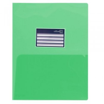 DOSSIER A4 PP 250 MICRAS DOBLE CON TARJETERO VERDE OFFICE BOX