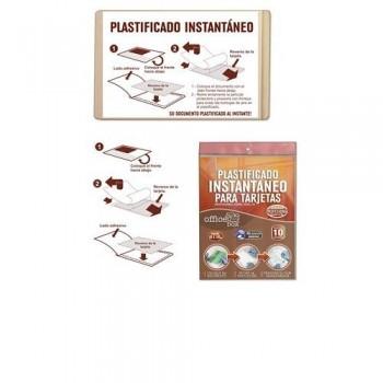 FUNDA PLASTIFICADO INSTANTÁNEO PARA TRAJETAS DE VISITA 66X100 - BLISTER CON 10. OFFICE BOX