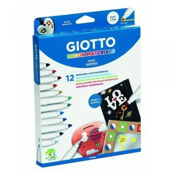ROTULADOR MULTISUPERFICIE ESTUCHE 12 UN. GIOTTO DECOR MATERIALS