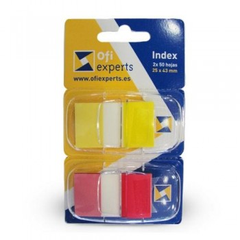INDEX MEDIANO ROJO Y AMARILLO 2 DISPENSADORES CARTÓN 2X50 OFIEXPERTS
