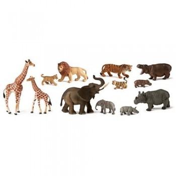 FIGURAS PLÁSTICO 12 UN. ANIMALES SALVAJES CON BEBÉS MINILAND