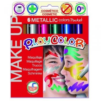 MAQUILLAJE 6 COLORES METÁLICOS PLAYCOLOR MAKE UP METALLICS POCKET