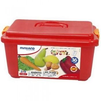 Figuras plástico 36 un. frutas y hortalizas en contenedor Miniland