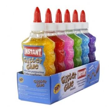 Cola líquida con purpurina Instant Glitter Glue Metallic 6 unidades surtidas  180ml
