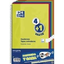 CUADERNO OXFORD FOLIO 80H PACK 4+1 TEXTRA D CUADRO
