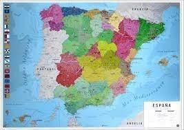 MAPA ESPAÑA POSTER FISICO - POLITICO  60X90