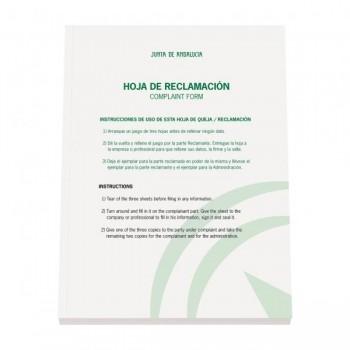 LIBRO DE HOJAS DE RECLAMACIONES JUNTA DE ANDALUCIA